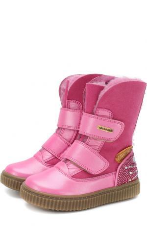 Кожаные ботинки с внутренней меховой отделкой и застежками велькро Missouri. Цвет: розовый