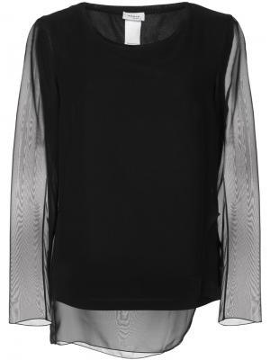 Блузка с прозрачными рукавами Akris Punto. Цвет: чёрный