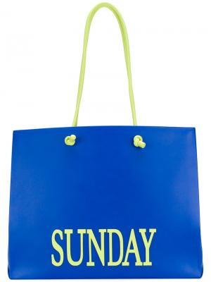 Большая сумка-тоут Sunday Alberta Ferretti. Цвет: синий