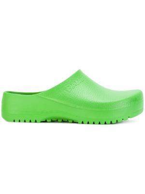 Лоферы на низком каблуке Birkenstock. Цвет: зелёный