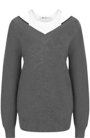 Шерстяной пуловер с контрастным воротником T by Alexander Wang. Цвет: серый