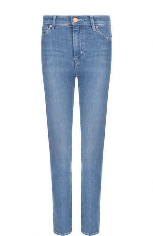 Джинсы прямого кроя с потертостями MiH Jeans. Цвет: синий