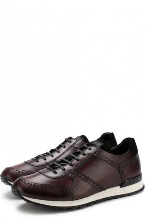 Кожаные кроссовки на шнуровке Kiton. Цвет: бордовый