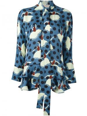 Блузка с принтом танцовщиц Marni. Цвет: многоцветный
