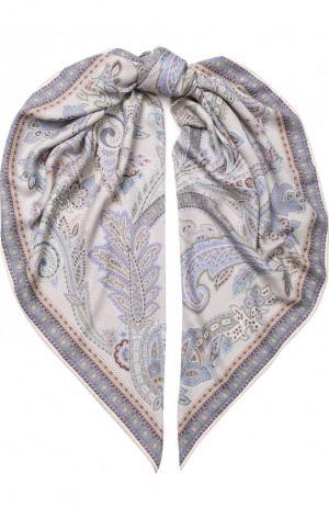 Платок из смеси кашемира и шелка с принтом Michele Binda. Цвет: светло-бежевый