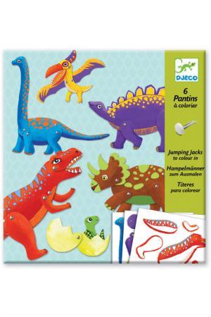 Набор куколок Динозавры Djeco. Цвет: голубой