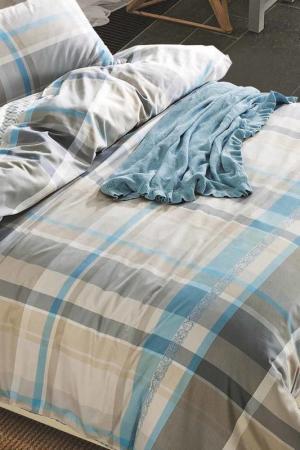 Постельное белье Евро, 50x70 Jardin. Цвет: голубой