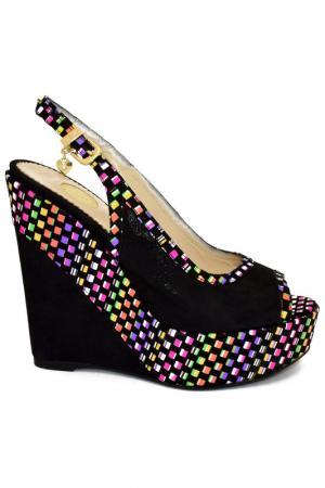 Туфли открытые ILASIO RENZONI. Цвет: черный