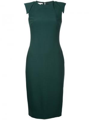 Приталенное платье со вставками на плечах Antonio Berardi. Цвет: зелёный