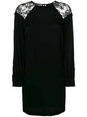 Платье шифт с кружевными вставками Ki6. Цвет: чёрный