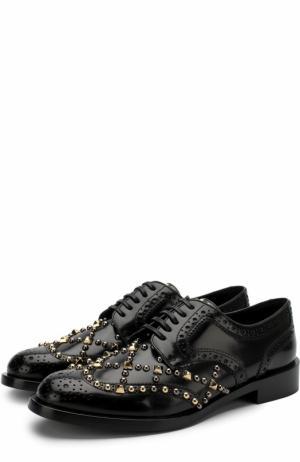 Кожаные броги с заклепками Dolce & Gabbana. Цвет: черный