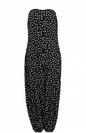Шелковый комбинезон-бюстье в горох Dolce & Gabbana. Цвет: черно-белый
