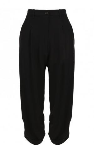 Укороченные брюки из смеси шерсти и вискозы Ann Demeulemeester. Цвет: черный