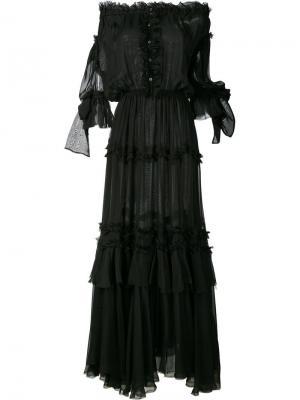Длинное платье с оборками и открытыми плечами Faith Connexion. Цвет: чёрный