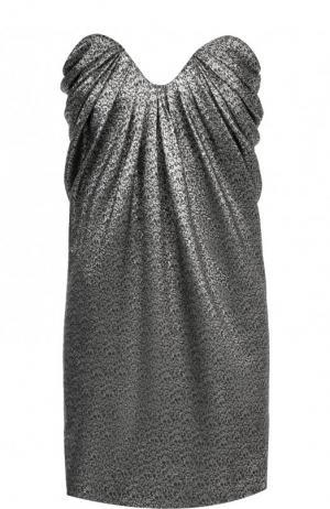 Платье-бюстье с фактурной отделкой Saint Laurent. Цвет: черный