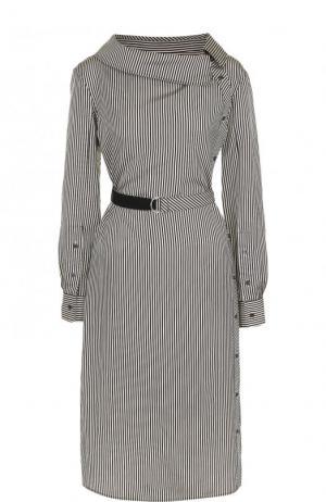 Платье-миди с поясом и длинным рукавом Altuzarra. Цвет: черно-белый