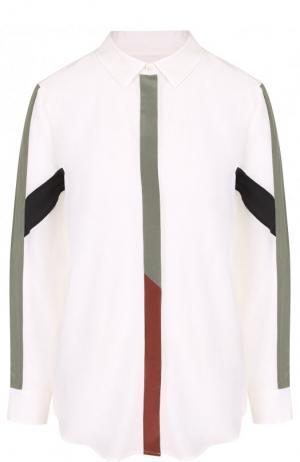 Шелковая блуза свободного кроя с контрастной отделкой Equipment. Цвет: белый
