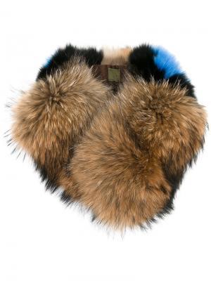 Воротник из лисьего меха и енота Mr & Mrs Italy. Цвет: коричневый