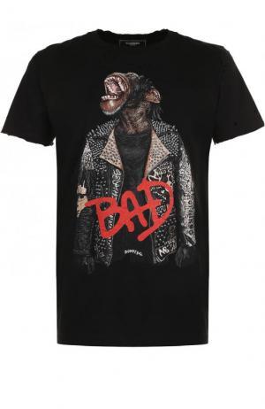 Хлопковая футболка с принтом и потертостями Dom Rebel. Цвет: черный