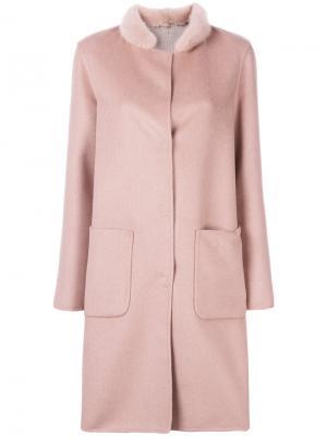 Пальто с отделкой на воротнике Manzoni 24. Цвет: розовый и фиолетовый