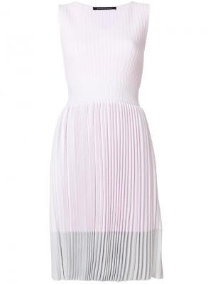 Плиссированное платье с V-образным вырезом Antonino Valenti. Цвет: розовый и фиолетовый