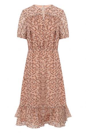 Шелковое платье-миди с оборками и принтом Altuzarra. Цвет: розовый