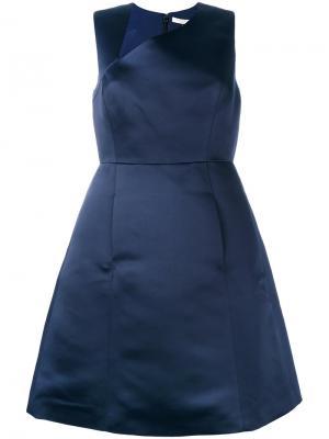 Платье с асимметричным вырезом Halston Heritage. Цвет: синий