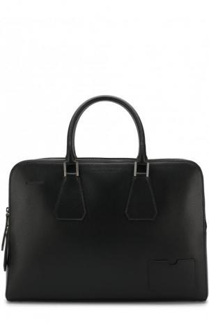 Кожаная сумка для ноутбука с плечевым ремнем и папкой документов Dsquared2. Цвет: черный