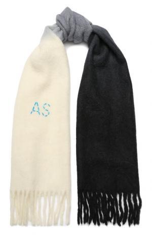 Шерстяной шарф с бахромой Acne Studios. Цвет: темно-серый