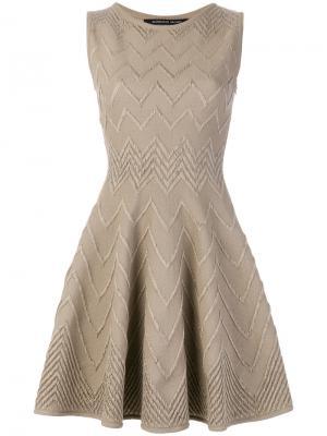 Расклешенное платье с шевронным узором Antonino Valenti. Цвет: телесный