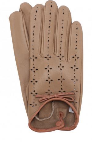 Кожаные перчатки с перфорацией Agnelle. Цвет: бежевый