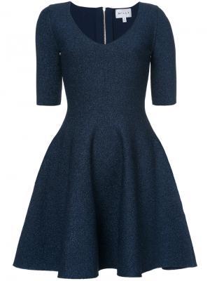 Расклешенное платье с V-образным вырезом Milly. Цвет: синий