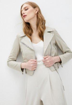 Куртка кожаная Blouson. Цвет: бежевый