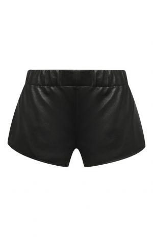 Кожаные мини-шорты Saint Laurent. Цвет: черный