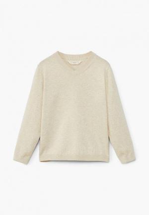 Пуловер Mango Kids. Цвет: бежевый