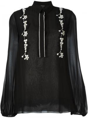 Блузка с цветочной вышивкой Giambattista Valli. Цвет: чёрный