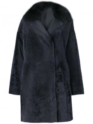 Пальто с меховой оторочкой Guy Laroche. Цвет: серый