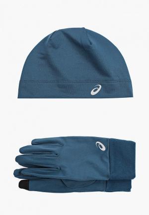 Шапка и перчатки ASICS. Цвет: синий