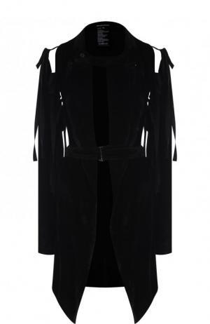 Удлиненный жакет с поясом и завязками на плечах Ann Demeulemeester. Цвет: черный