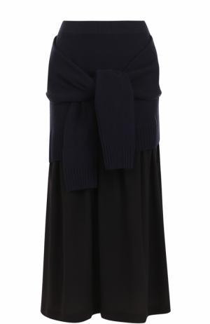 Шелковая юбка-миди с декоративной отделкой Joseph. Цвет: темно-синий