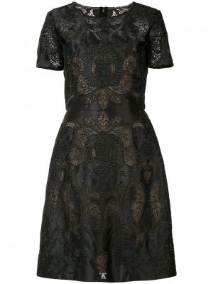 Платье с вышивкой Marchesa Notte. Цвет: чёрный