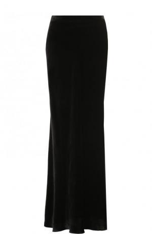 Однотонная бархатная юбка-макси Tegin. Цвет: черный