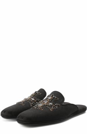 Текстильные домашние слиперы без задника с вышивкой Dolce & Gabbana. Цвет: черный