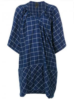 Платье с вышивкой в клетку Bernhard Willhelm. Цвет: синий