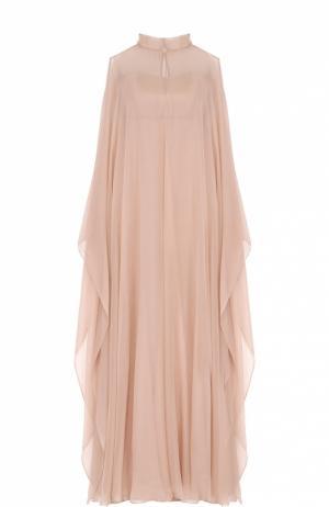 Платье-макси с прозрачным шелковым кейпом Valentino. Цвет: кремовый