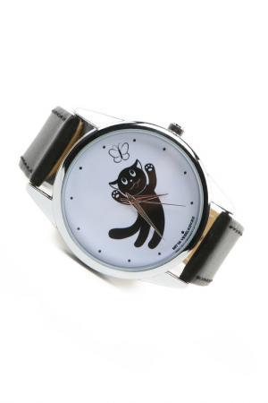 Часы Кошка и бабочка MITYA VESELKOV. Цвет: черный