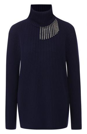 Шерстяной пуловер с высоким воротником и декоративной отделкой Christopher Kane. Цвет: синий