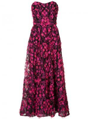 Длинное платье с цветочной отделкой Marchesa Notte. Цвет: розовый и фиолетовый