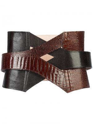 Плетеный ремень-корсет Balmain. Цвет: коричневый