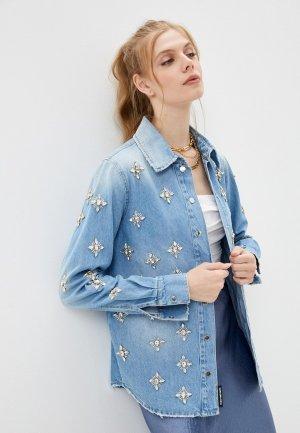 Рубашка джинсовая Marco Bologna. Цвет: голубой